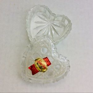 Vintage Crystal Heart Trinket Box Made W Germany